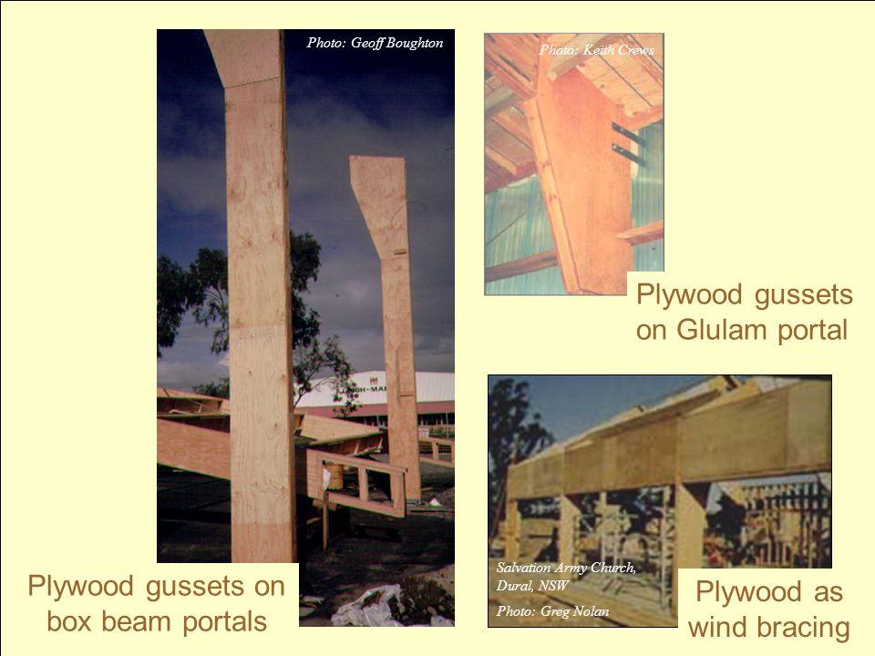 Plywood gussets on Glulam portal