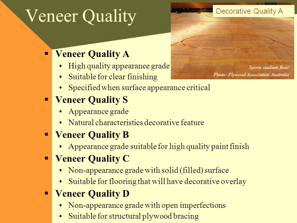 Veneer Quality Veneer Quality A Veneer Quality S Veneer Quality B
