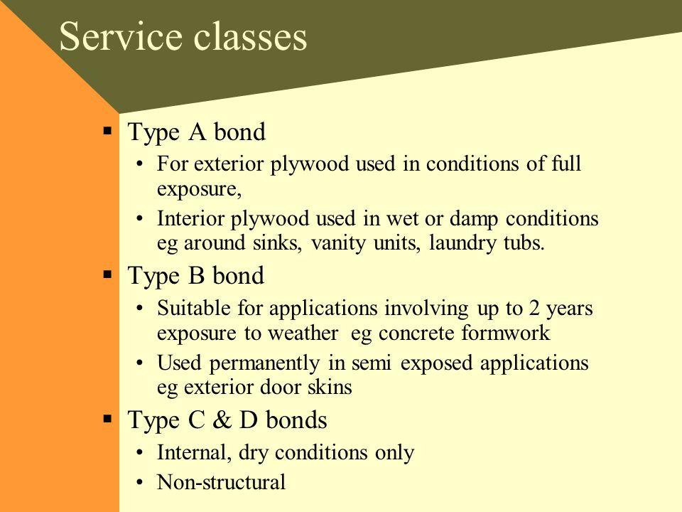 Service classes Type A bond Type B bond Type C & D bonds