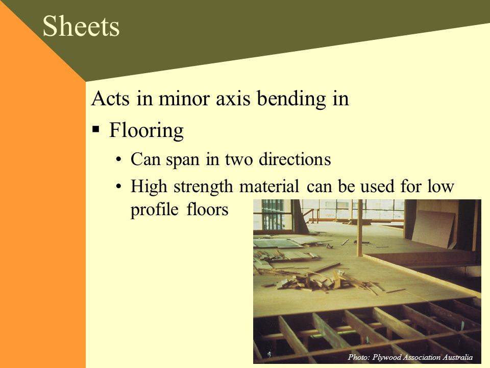 Sheets Acts in minor axis bending in Flooring