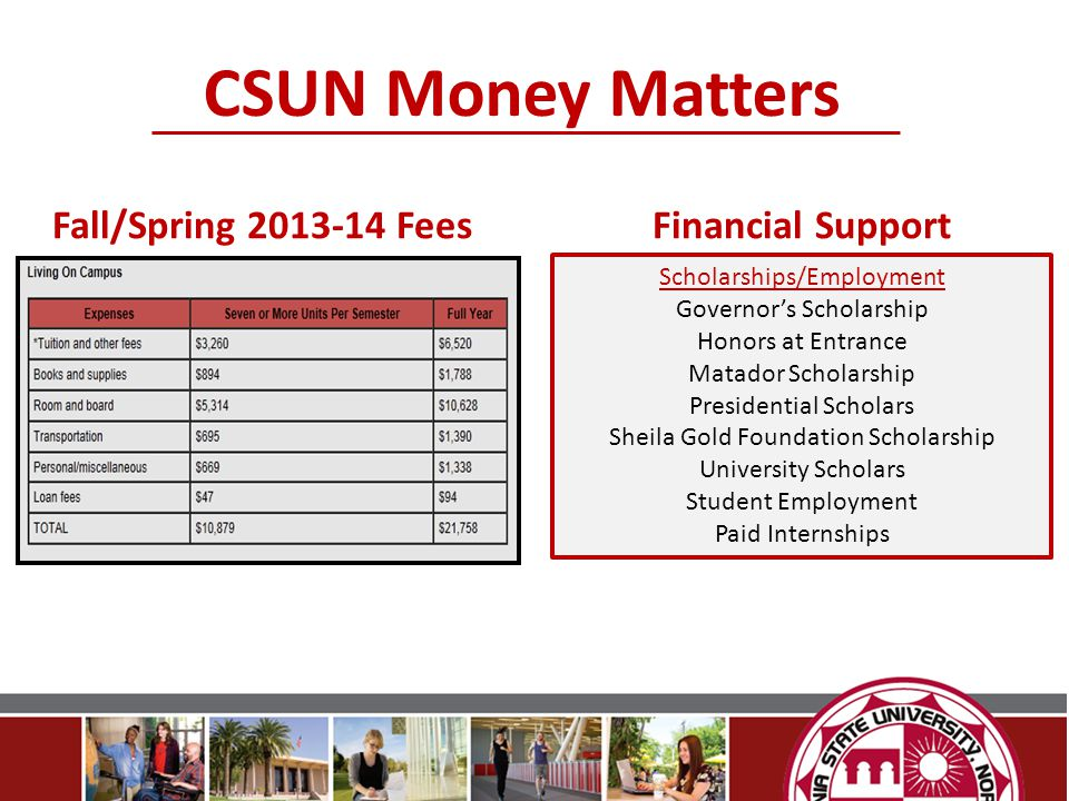 CSUN Money Matters Fall/Spring 2013-14 Fees Financial Support