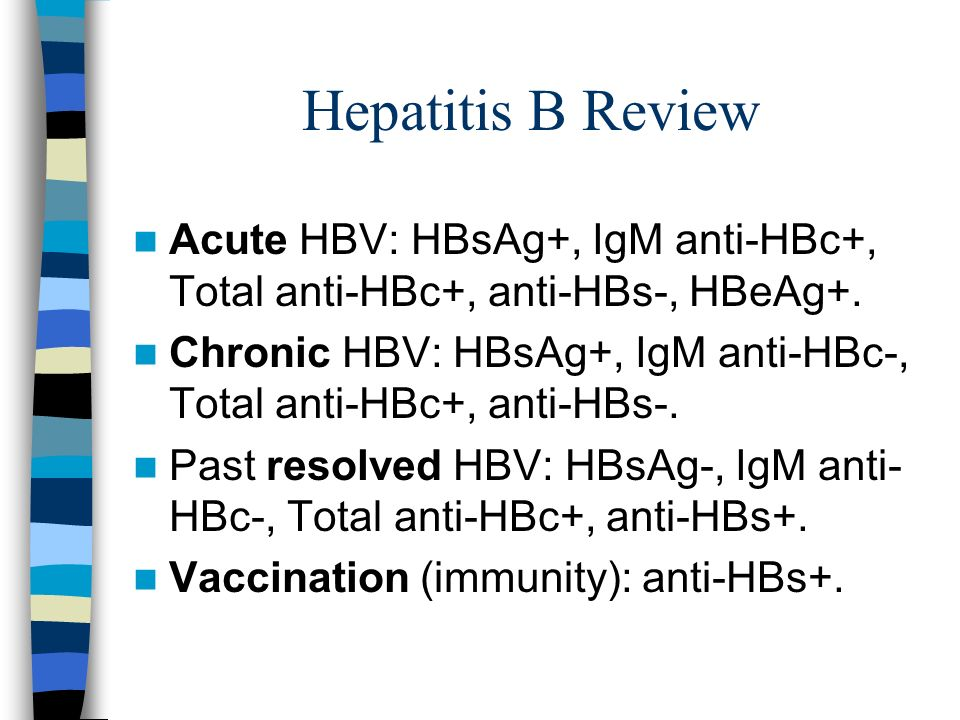 Hepatitis B Review Acute HBV: HBsAg+, IgM anti-HBc+, Total anti-HBc+, anti-HBs-, HBeAg+.