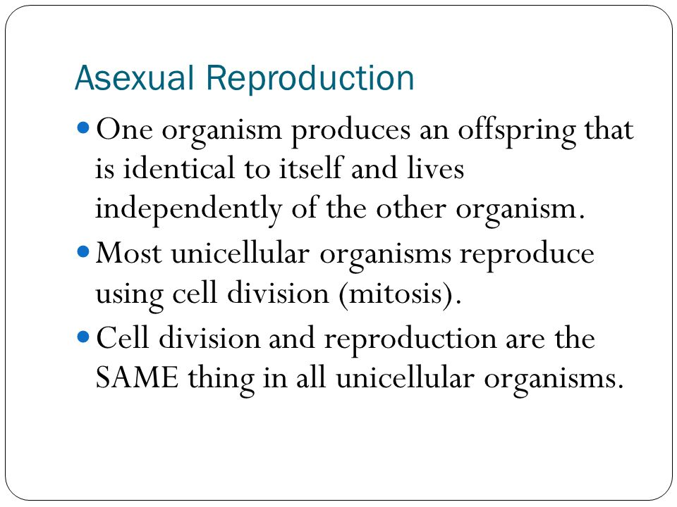 Asexual Reproduction One organism produces an offspring that is identical to itself and lives independently of the other organism.