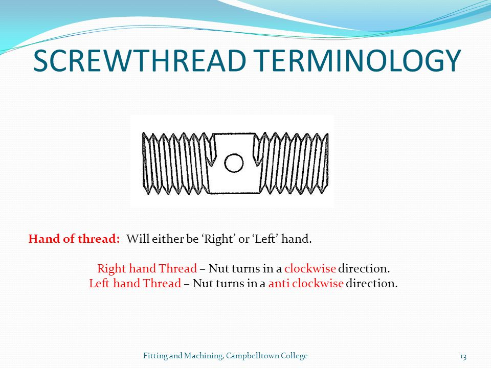 SCREWTHREAD TERMINOLOGY
