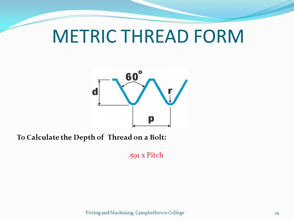 METRIC THREAD FORM To Calculate the Depth of Thread on a Bolt: