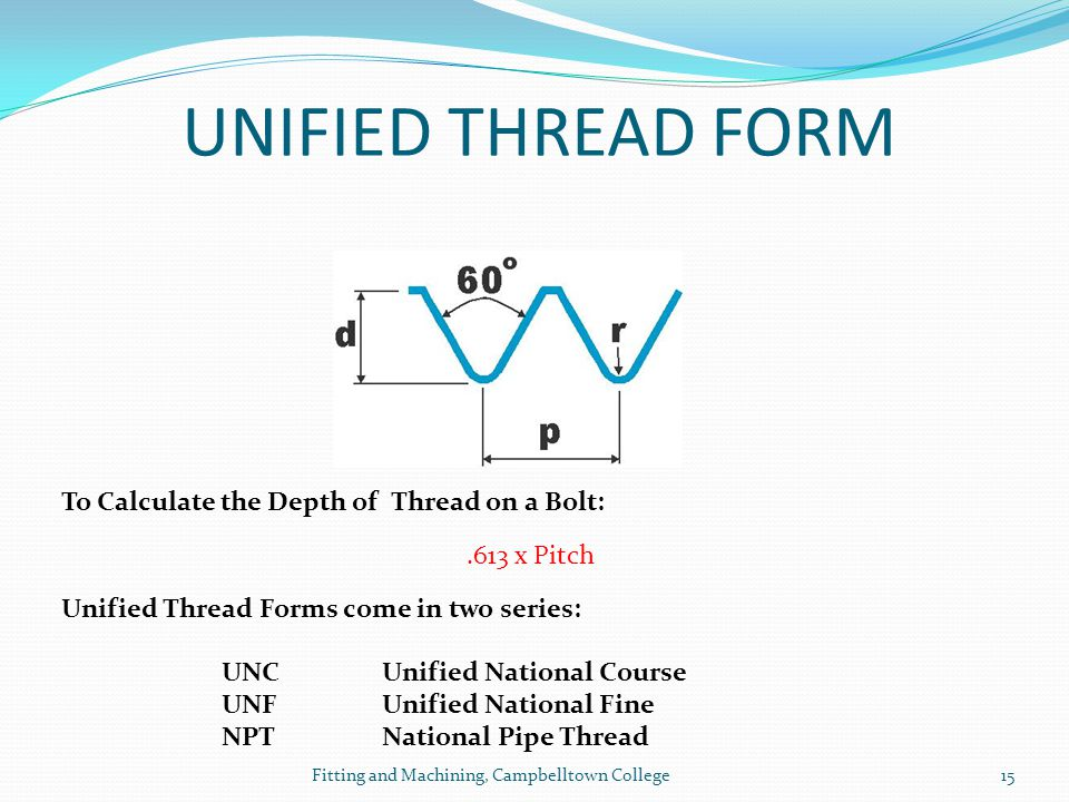 UNIFIED THREAD FORM To Calculate the Depth of Thread on a Bolt: