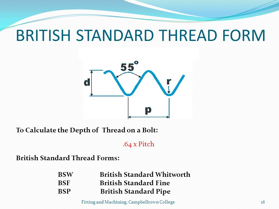BRITISH STANDARD THREAD FORM