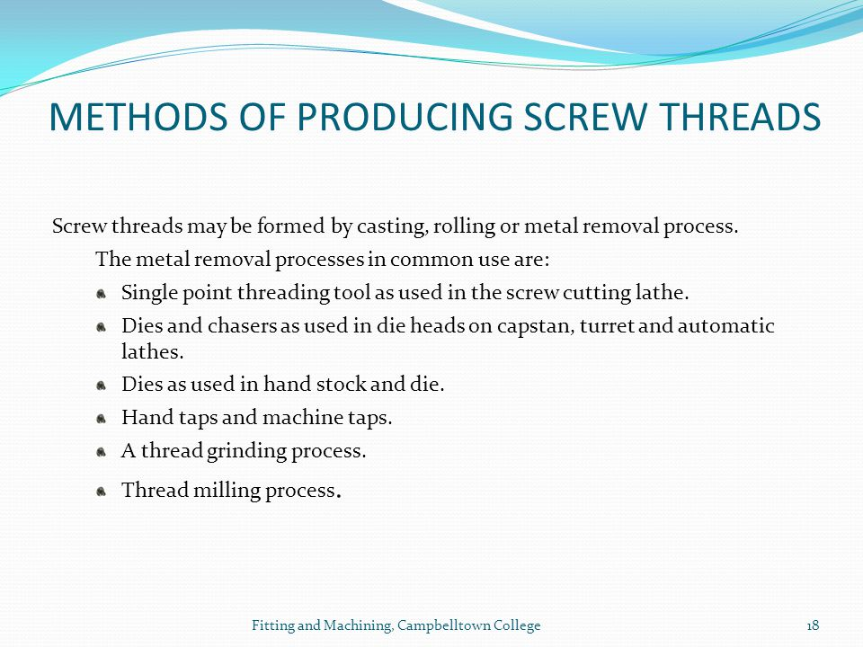 METHODS OF PRODUCING SCREW THREADS