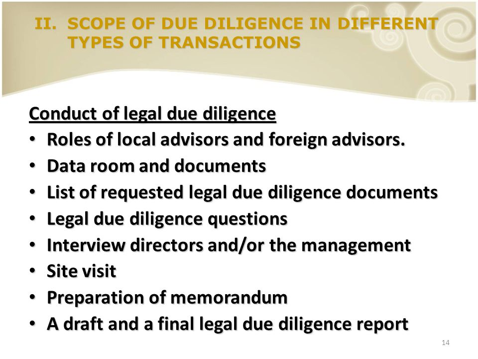 Conduct of legal due diligence