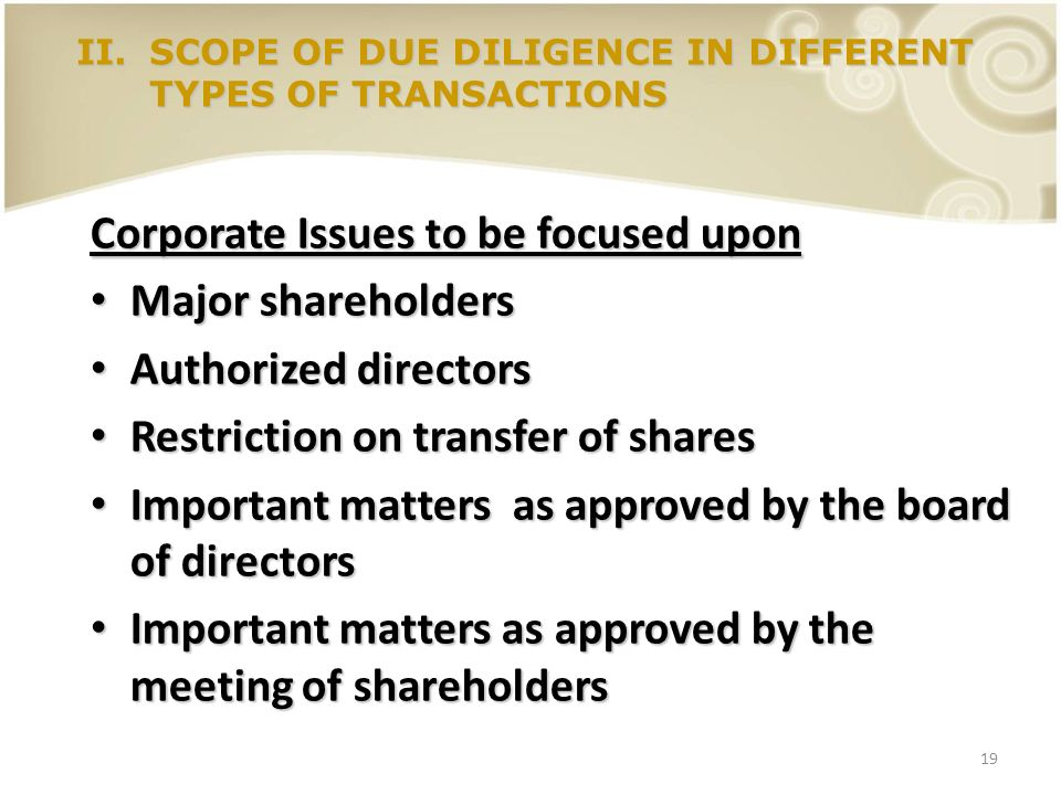 Corporate Issues to be focused upon Major shareholders