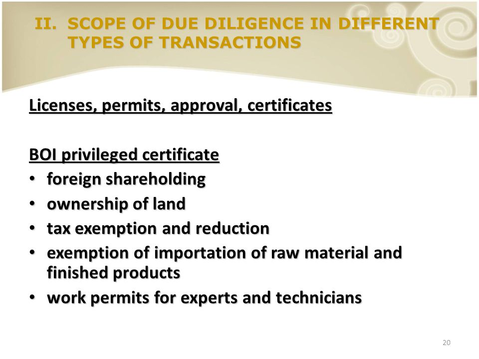 Licenses, permits, approval, certificates BOI privileged certificate