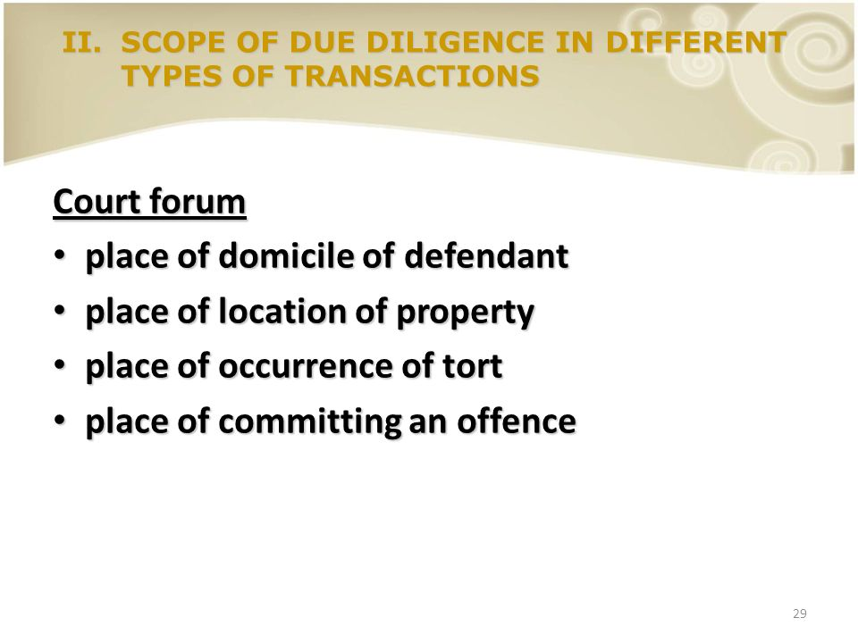 place of domicile of defendant place of location of property