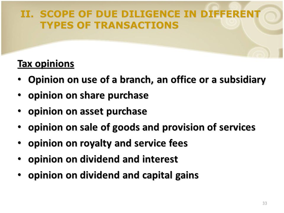 Opinion on use of a branch, an office or a subsidiary