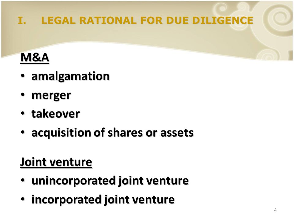 LEGAL RATIONAL FOR DUE DILIGENCE