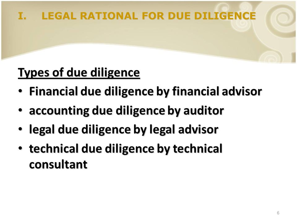 Financial due diligence by financial advisor