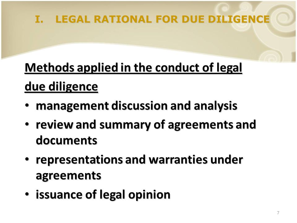 I. LEGAL RATIONAL FOR DUE DILIGENCE