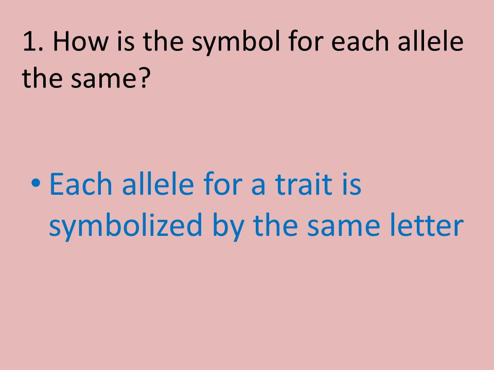 1. How is the symbol for each allele the same