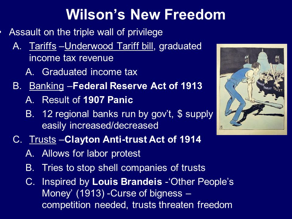 Wilson's New Freedom Assault on the triple wall of privilege