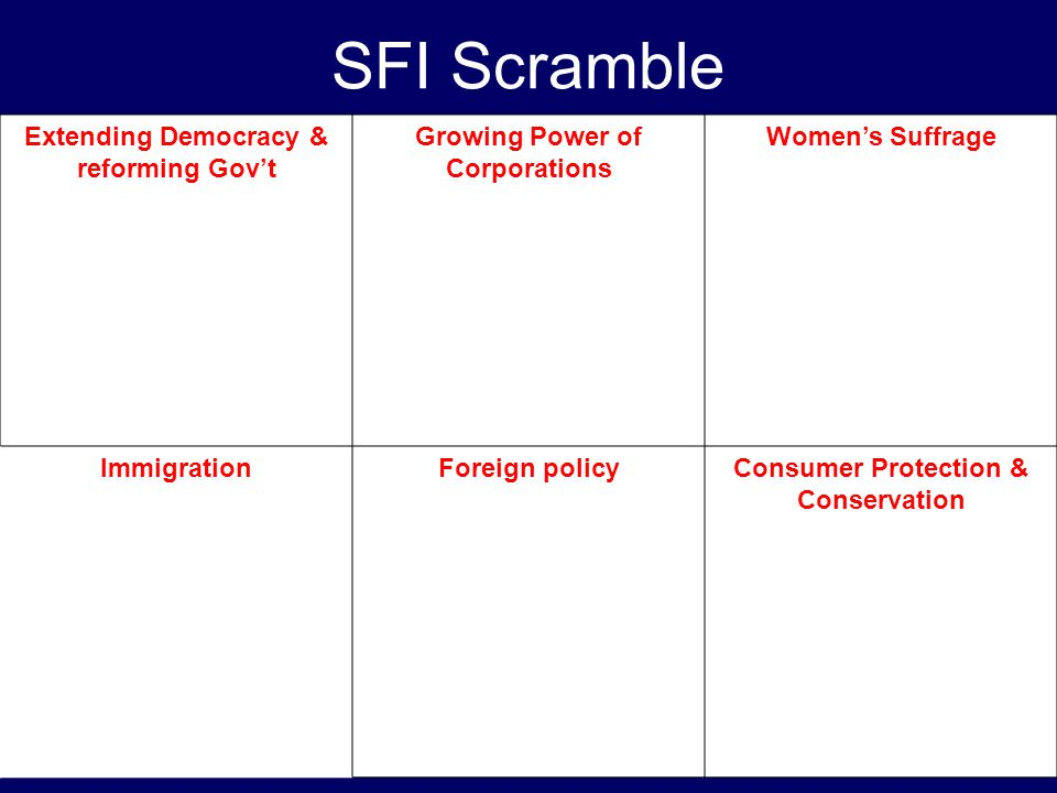 SFI Scramble Extending Democracy & reforming Gov't