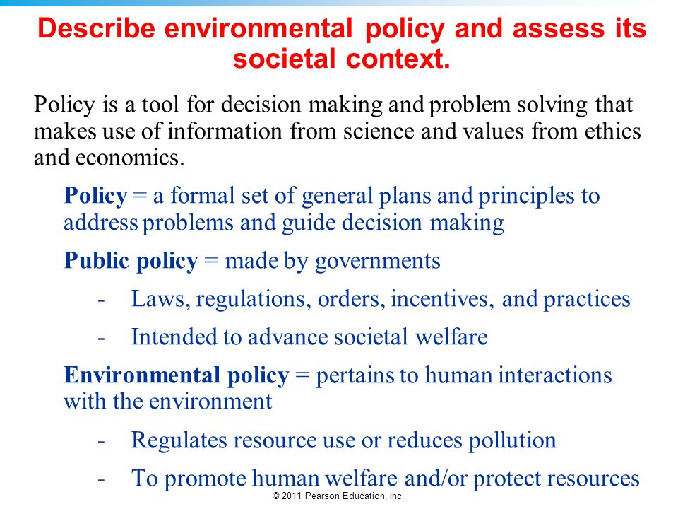 Describe environmental policy and assess its societal context.