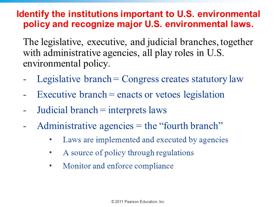 Legislative branch = Congress creates statutory law