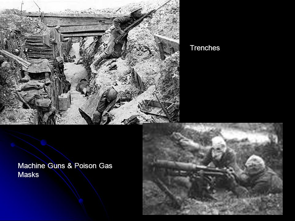Trenches Machine Guns & Poison Gas Masks
