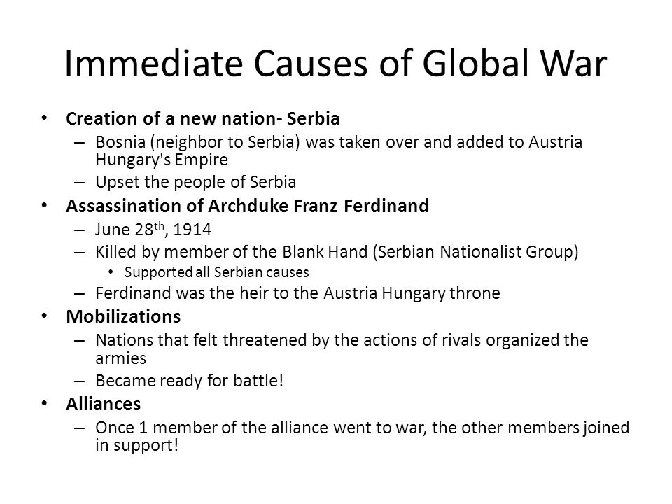 Immediate Causes of Global War