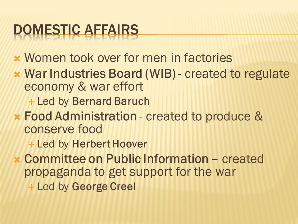 Domestic Affairs Women took over for men in factories