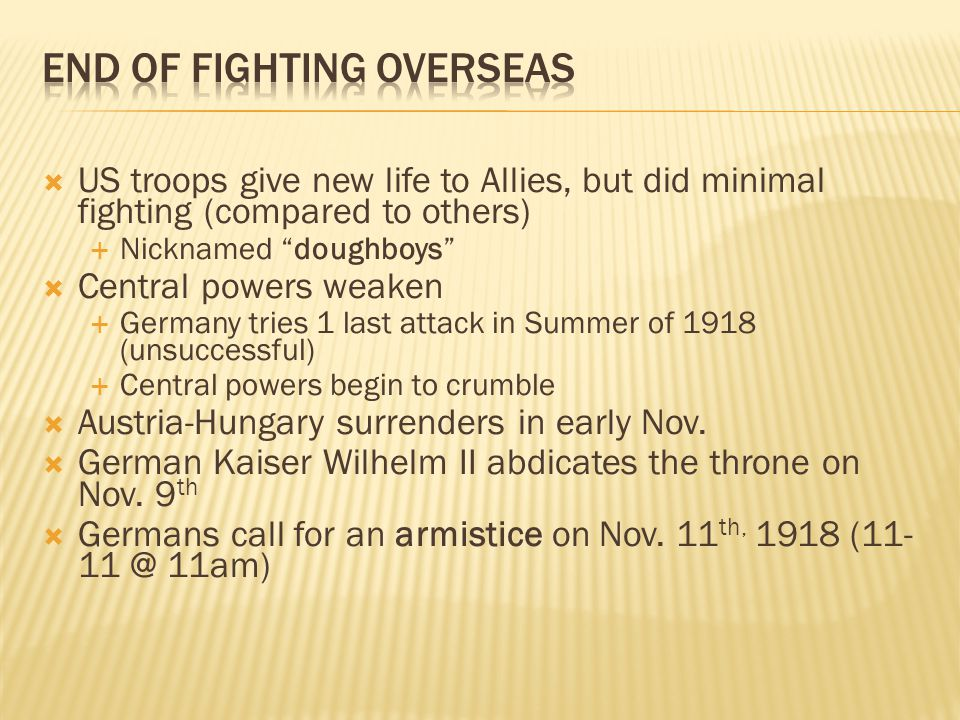 End of Fighting Overseas