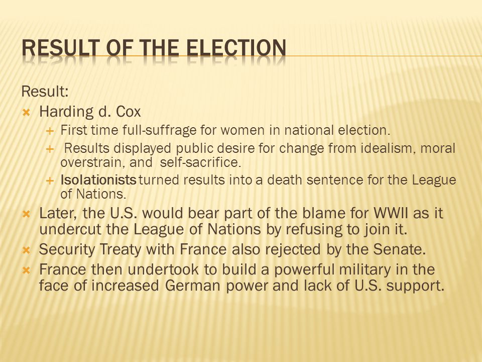 Result of the Election Result: Harding d. Cox