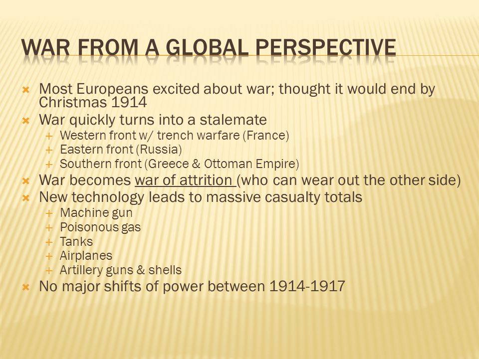 War from a Global Perspective