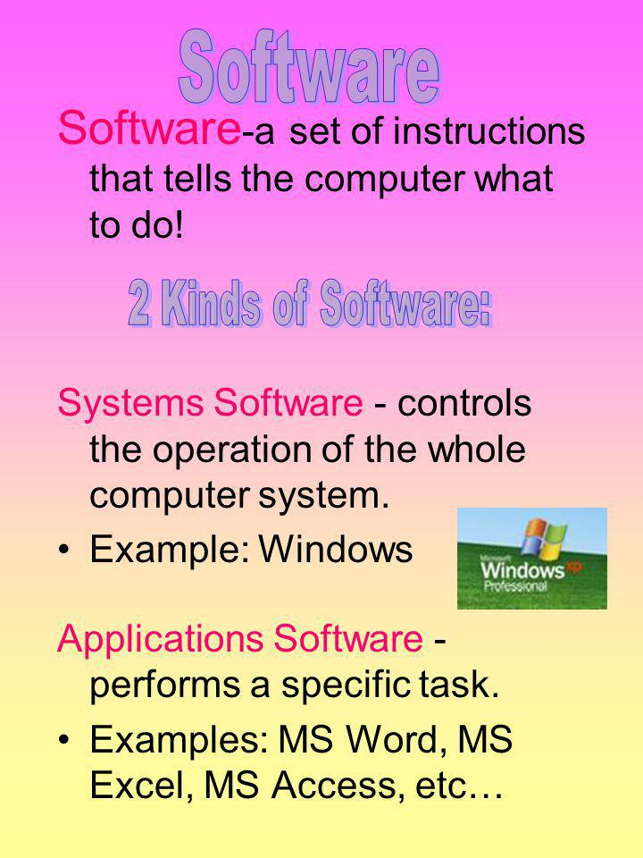 Software Software-a set of instructions that tells the computer what to do! Systems Software - controls the operation of the whole computer system.