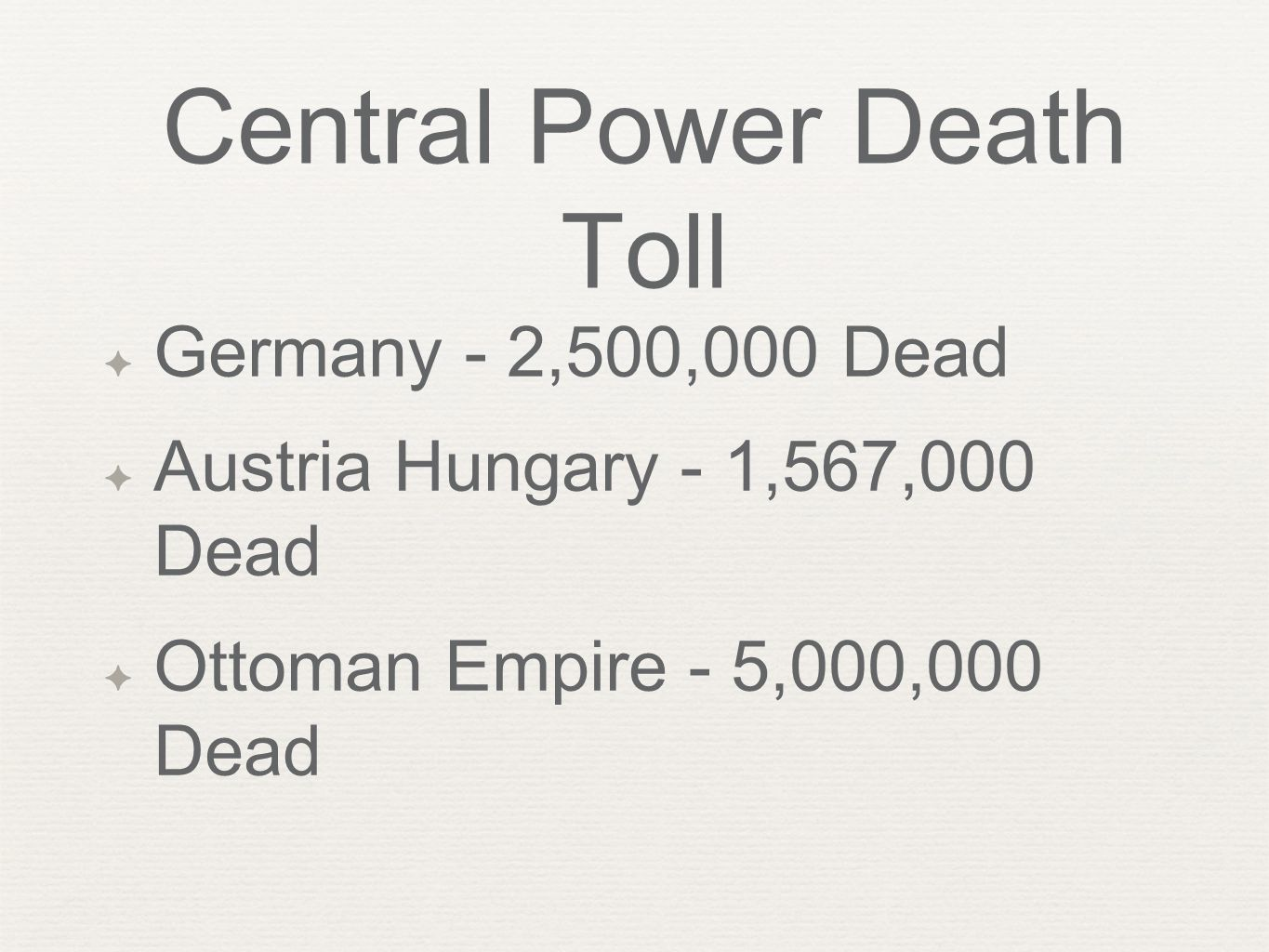 Central Power Death Toll