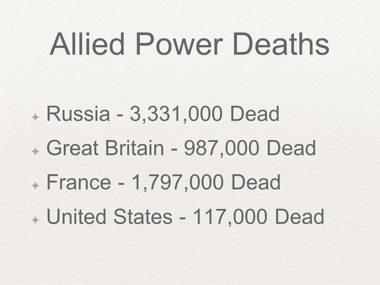 Allied Power Deaths Russia - 3,331,000 Dead