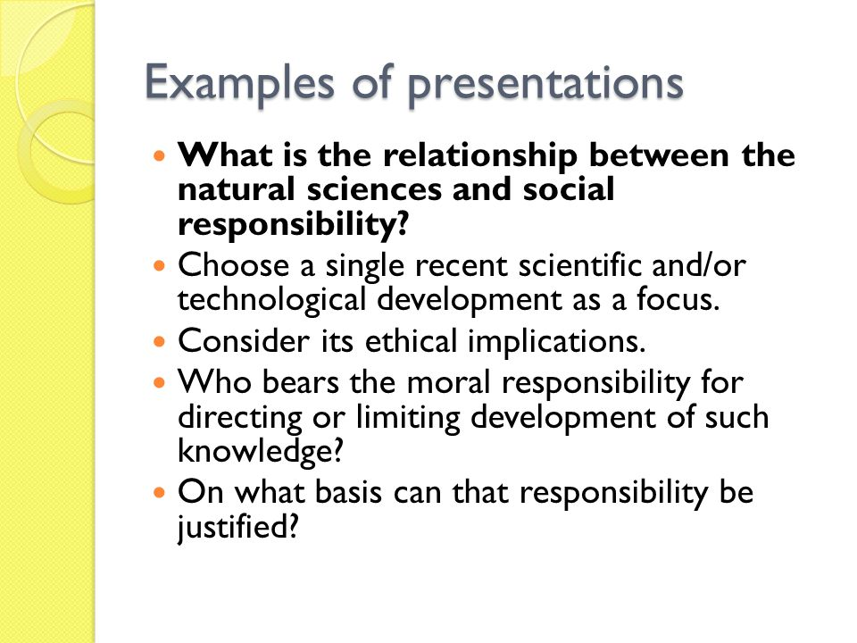 Examples of presentations
