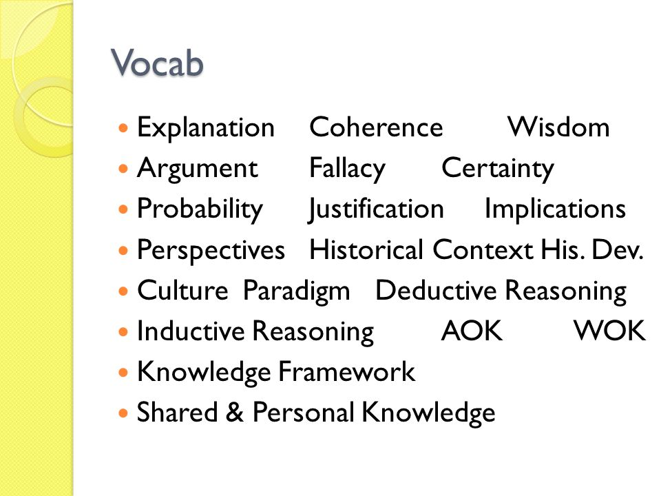Vocab Explanation Coherence Wisdom Argument Fallacy Certainty