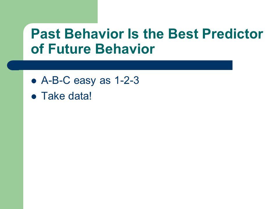 Past Behavior Is the Best Predictor of Future Behavior