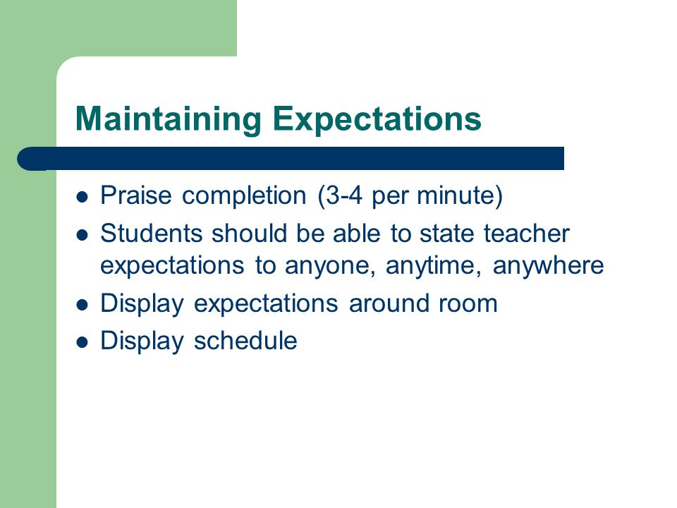 Maintaining Expectations