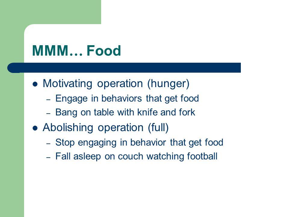 MMM… Food Motivating operation (hunger) Abolishing operation (full)