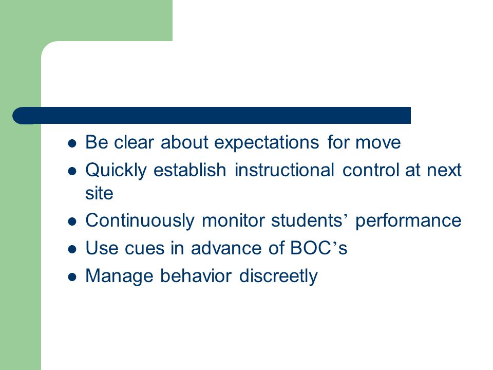 Be clear about expectations for move