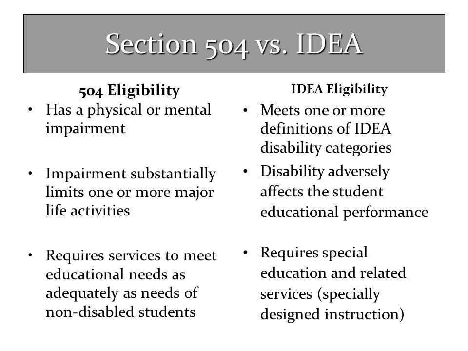 Section 504 vs. IDEA 504 Eligibility