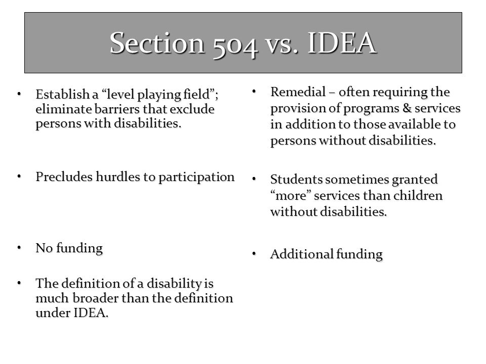 Section 504 vs. IDEA Remedial – often requiring the provision of programs & services in addition to those available to persons without disabilities.