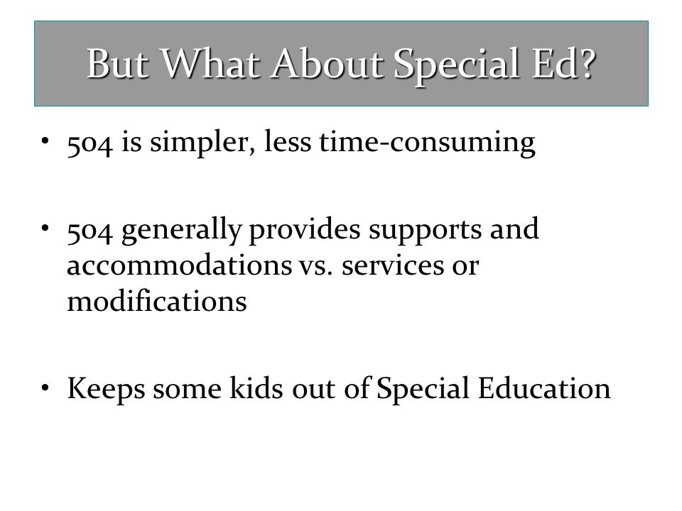 But What About Special Ed