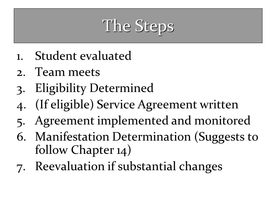 The Steps Student evaluated Team meets Eligibility Determined