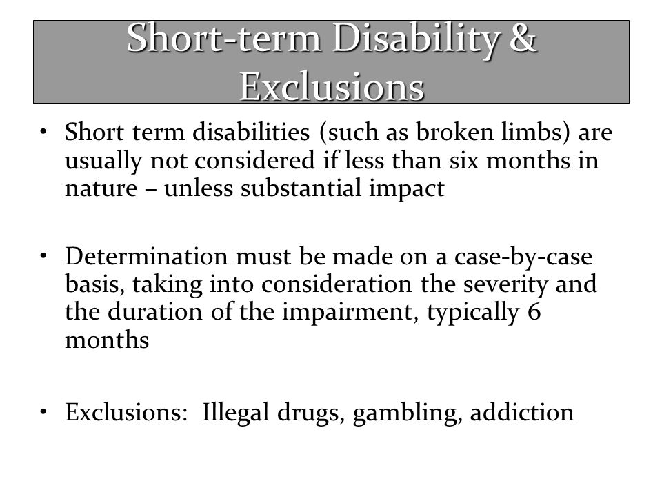 Short-term Disability & Exclusions