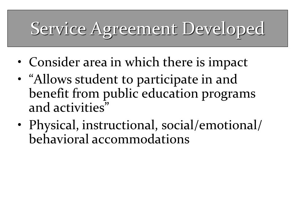 Service Agreement Developed