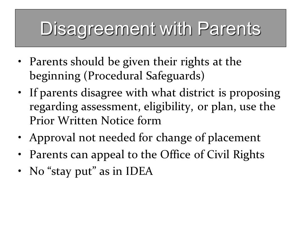Disagreement with Parents