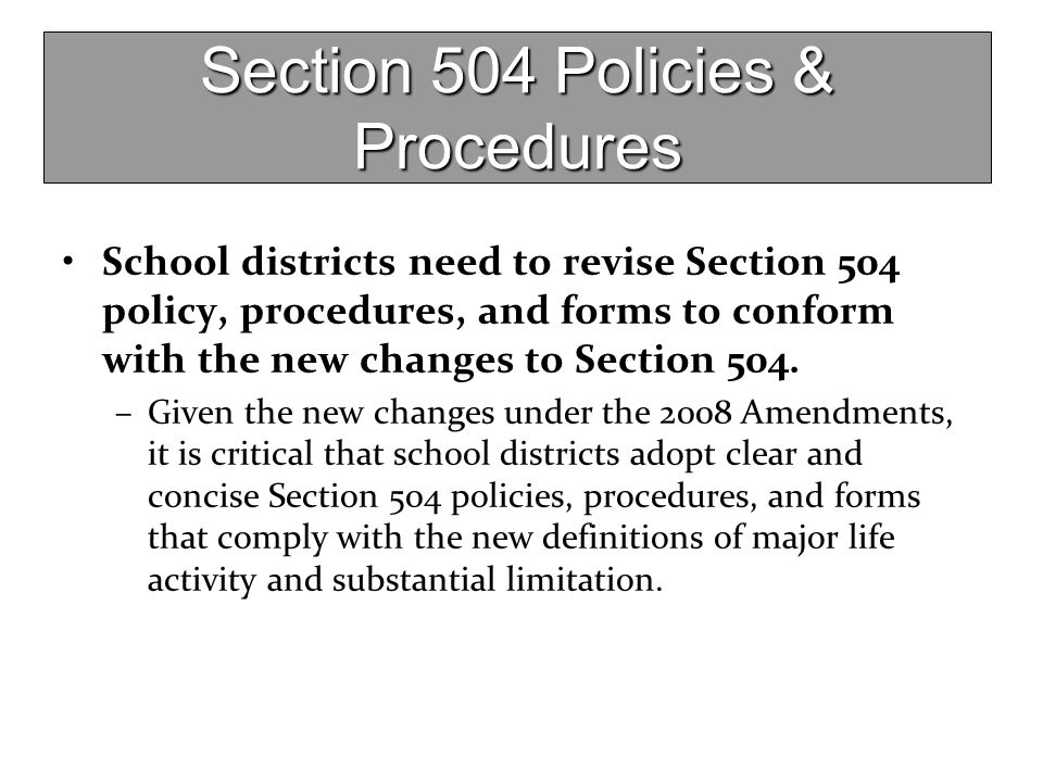 Section 504 Policies & Procedures