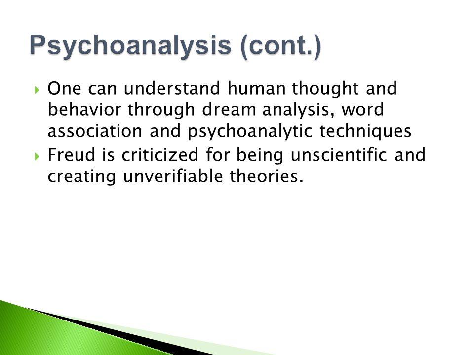 Psychoanalysis (cont.)