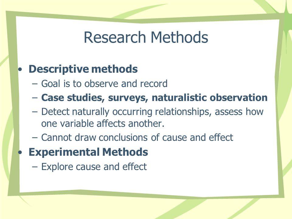 Research Methods Descriptive methods Experimental Methods